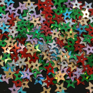 5mm Hologram Star Sequins.  Mixed Colour Pack. x 10g